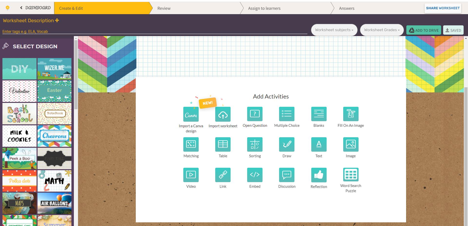 Wizer  - инструмент для создания интерактивных рабочих листов